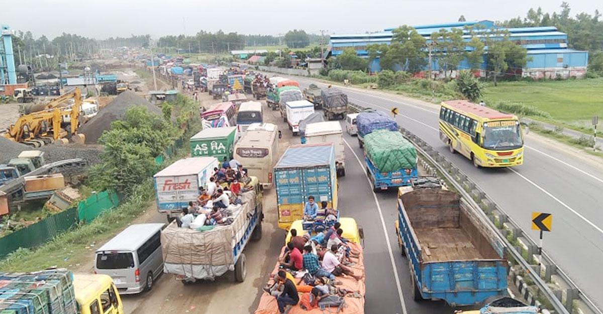 ঢাকা-টাঙ্গাইল মহাসড়কে ২০ কিমি যানজট